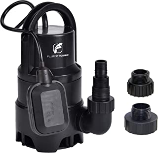 FLUENTPOWER Electric Submersible Pump 1/3HP with Max Flow 2100 GPH Clean/Dirty Submersible Sump Pump Included 3/4