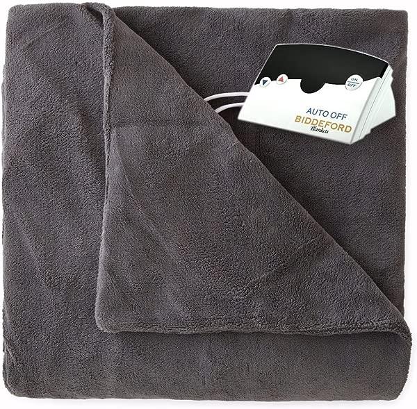 Biddeford 2031 905291 902 MicroPlush Electric Heated Blanket Full Grey