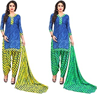 Jevi Prints - Pack of 2 Unstitched Women's Unstitched Synthetic Crepe Salwar Suit Dupatta Material (R-9158_A-9158_C)