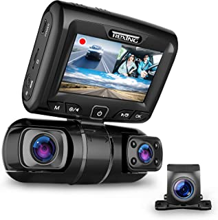 """REXING S1 Dash Cam 3-Channel Front,Rear,Cabin 1080P + 720p +720p, 2"""" LCD, INFRARED NIGHT VISION, Parking Monitor, Mobile A..."""
