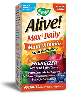 Nature's Way Alive! Premium Max3 Daily Multi-Vitamin Energizer, No Added Iron, 60 Tablets