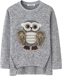 AuroraBaby Toddle Big Girls Hoodies Sweatshirts Adorable Fuzzy Owl Pullover Long Sleeve Grey