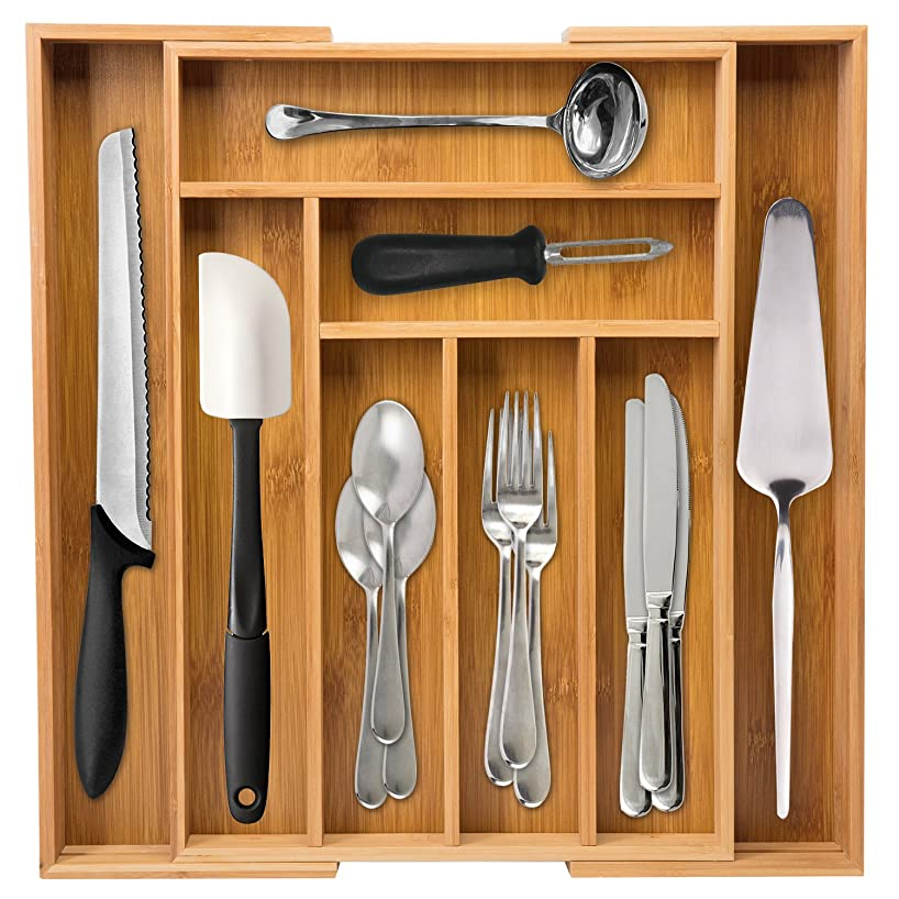 Ivation Large Expandable Bamboo Drawer Organizer – Adjustable Dimensions Multi Compartment Cutlery & Utility Tray for Kitchen Utensils, Silverware, Tools & Other Household Accessories