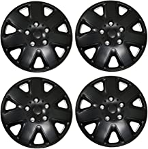 TuningPros WSC3-026B16 4pcs Set Snap-On Type (Pop-On) 16-Inches Matte Black Hubcaps Wheel Cover
