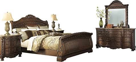 Ashley North Shore 5PC Bedroom Set Queen Sleigh Bed Dresser Mirror One Nightstand Chest in Dark Brown