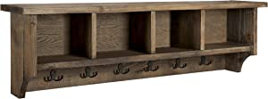 """Sonoma 48"""" Reclaimed Wood Wall Mounted Entryway Coat Hook with 4 Storage Cubbies, Natural"""