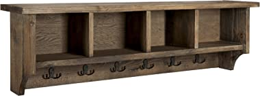 "Sonoma 48"" Reclaimed Wood Wall Mounted Entryway Coat Hook with 4 Storage Cubbies, Natural"