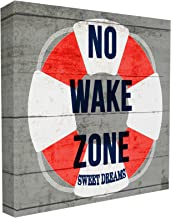 The Stupell Home Decor Collection No Wake Zone Life Raft Stretched Canvas Wall Art, 17 x 1.5 x 17, Proudly Made in USA