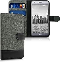 kwmobile Funda Compatible con LG X CAM - Carcasa de Tela y Cuero sintético Tarjetero Gris/Negro