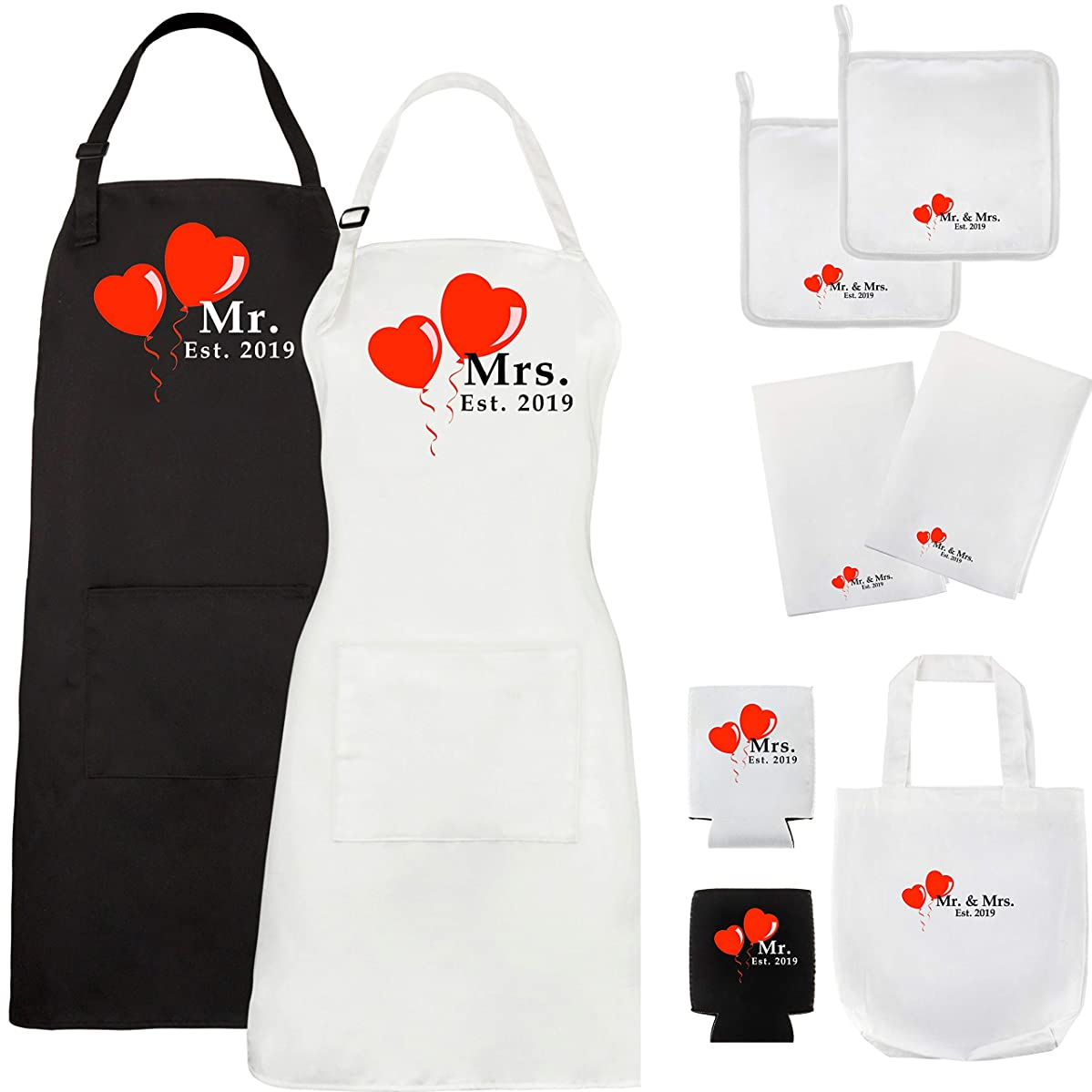 Let the Fun Begin Mr and Mrs Aprons 2019 - His Hers Wedding Gift, Couples Bridal Shower Engagement Gifts (9 Pieces)