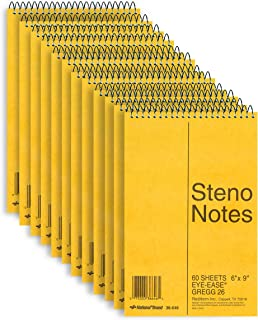 National Steno Notebook with Brown Board Cover, Green Paper, Gregg Ruled, 6