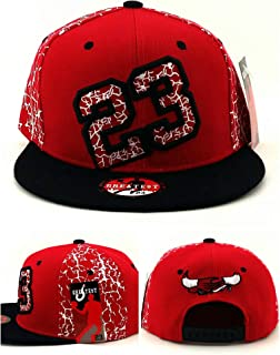 Greatest 23 Chicago New Leader Forever MJ Youth Kids Crackle Cracked Cement Bull Head Red Black Era Snapback Hat Cap 19in to 21in Head Size