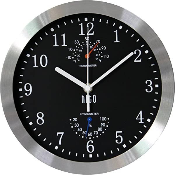 Hito Modern Silent Wall Clock Non Ticking 10 Inch Excellent Accurate Sweep Movement Silver Aluminum Frame Glass Cover Decorative For Kitchen Living Room Bedroom Bathroom Bedroom Office Black