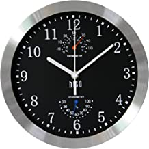 hito Modern Silent Wall Clock Non Ticking 10 inch Excellent Accurate Sweep Movement Silver Aluminum Frame Glass Cover, Dec...