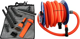 Cen-Tec Systems 94082 Industrial Steel Reel and Attachment Kit with 50 Ft. Hose for Shop Vacuums, Orange