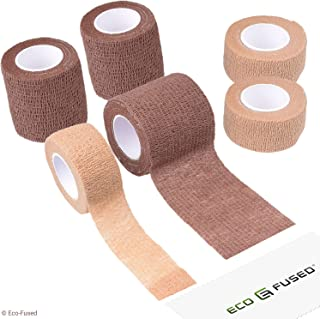 Self Adhering Bandage - Sport Injury Wrap Tape - Pack of 6 - Supports Muscles and Joints - Easy to Apply and Tear - Does not Stick to your Skin - Elastic, Water Repellent, Breathable - Relieves Stress