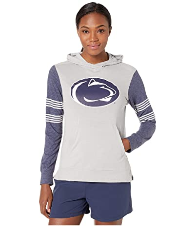 Champion College Penn State Nittany Lions Color Blocked Long Sleeve Hoodie (Cool Grey/Gear Navy) Women