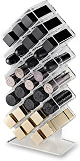 byAlegory Acrylic Lipstick Makeup Organizer | 28 Space Cosmetic Storage Designed To Stand, Lay Flat or Stack (CLEAR)