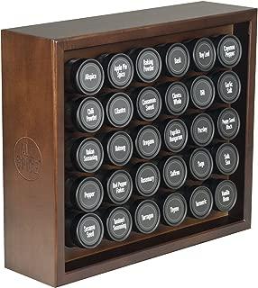 AllSpice Wooden Spice Rack, Includes 30 4oz Jars- Walnut