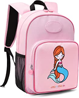 mommore Cute Mermaid Kids Backpack Preschool Toddler Backpack 3-7 Years Old Girls, Pink