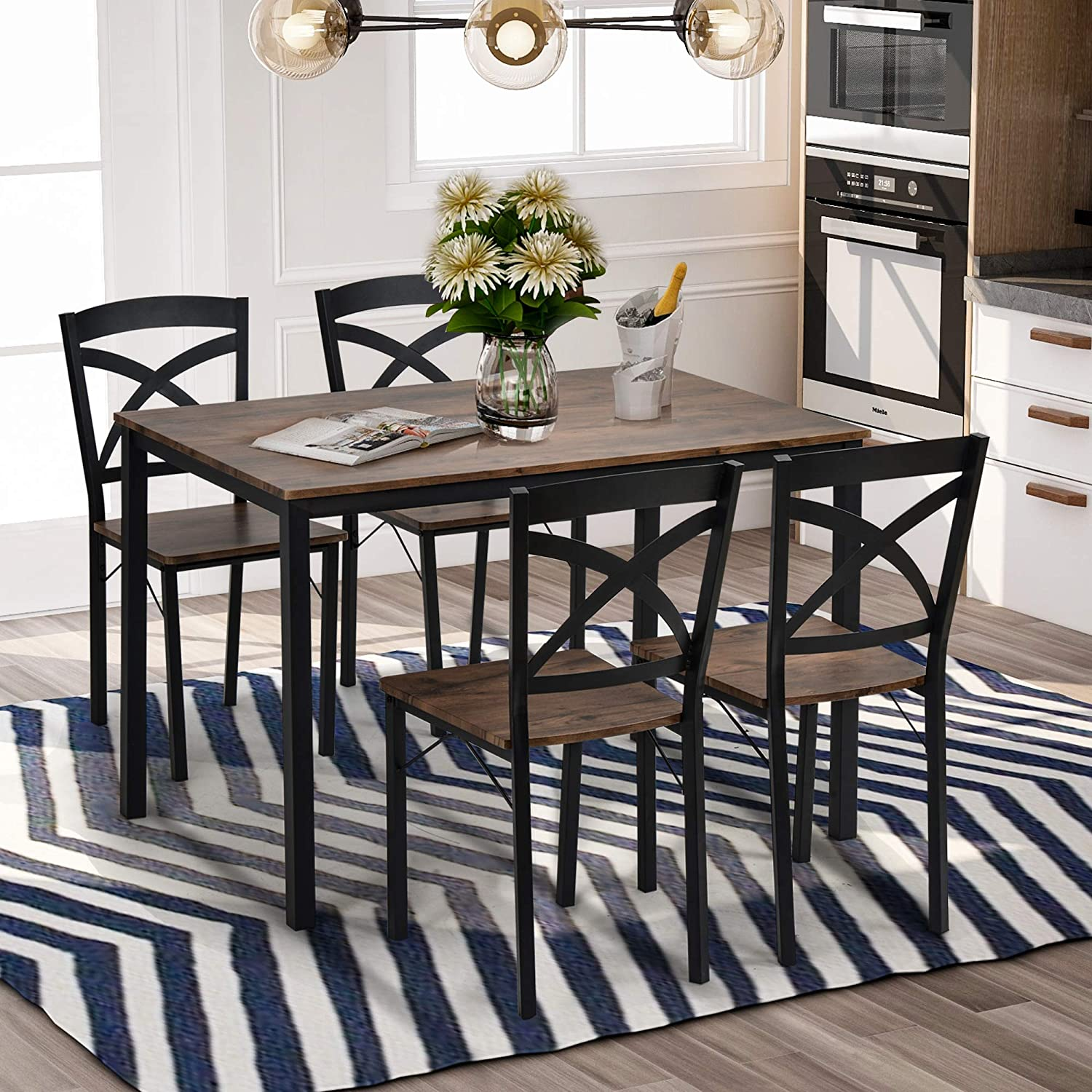 Goujxcy Time sale 5-Piece Price reduction Industrial Wooden Table Retro Set Dining