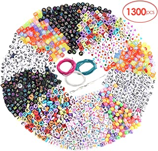 RainBabe 1300PCS Letter Beads 11 Styles Letter Beads for Necklaces Acrylic Letter Beads for Bracelets Variety Jewelry Kits Craft Letters Beads Jewelry Accessories Handmade Beads DIY Material