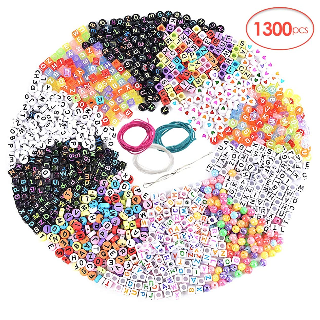 RainBabe 1300PCS Letter Beads 11 Styles Letter Beads for Necklaces Acrylic Letter Beads for Bracelets Variety Jewelry Kits Craft Letters Beads Jewelry Accessories Handmade Beads DIY Material puwrtmhs297