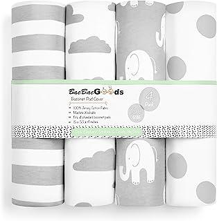 BaeBae Goods Bassinet Sheet Set | Grey Elephants | Super Soft Jersey Knit Cotton | 3 Pack | 150 GSM