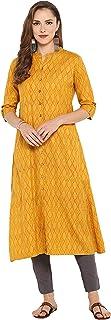 Janasya Indian Tunic Tops Cotton Kurti Set for Women