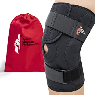 Hinged Knee Brace Support for Men & Women –Relieves LCL ACL MCL, Meniscus Tear, Joint Arthritis, Strains, Ligament & Tendon Injuries, Unloader Open Patella, Adjustable, Breathable Neoprene Compression