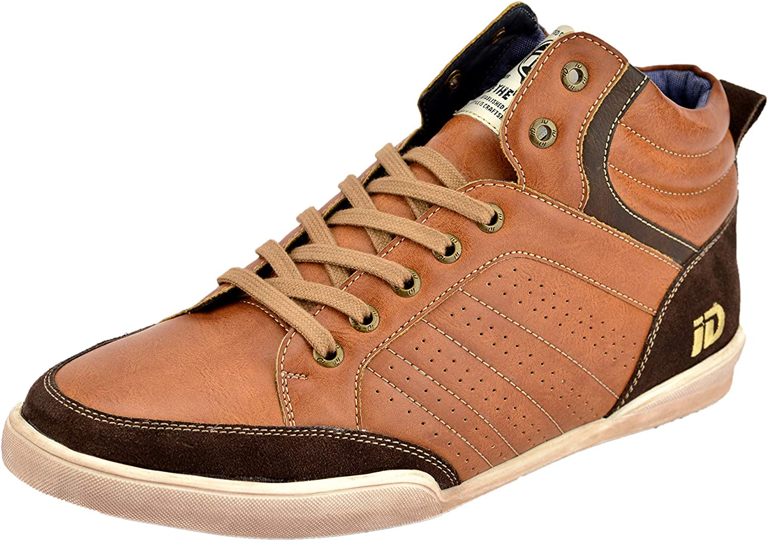 ID Men's Casual Ankle Length Sneakers Man Made Leather Fashion shoes