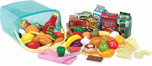 Play Circle by Battat – Pantry in a Bucket – 79-piece Pretend Food Playset with Storage Bin – Kitchen Toys and Plastic Play-Food for Toddlers Age 3 Years and Up