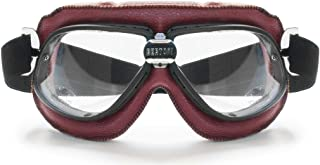 Bertoni Motorcycle Vintage Aviator Goggles in Red Leather w Mat Black Frame w Black Strap AF196R RED by Bertoni Italy Moto...