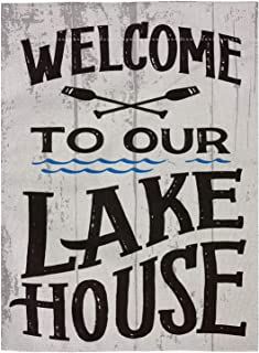 pingpi Welcome to Our Lake House Double Sided Burlap Garden Flag 12.5
