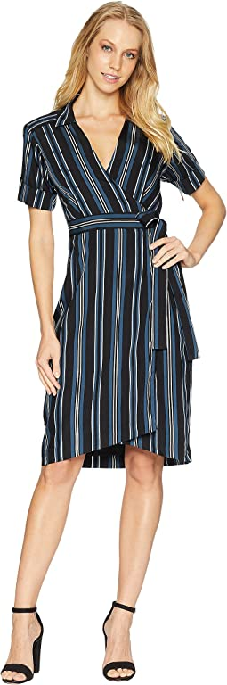 Serenity Stripe Wrap Shirtdress