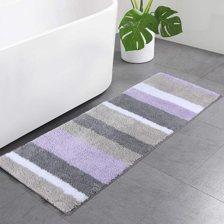 Buganda New product Microfiber Stripe Fort Worth Mall Bathroom Rugs Shaggy Runner Abs Soft