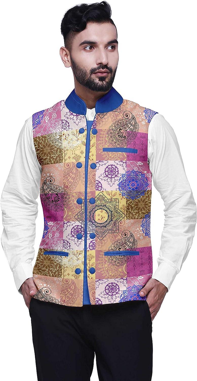 Atasi Fruits Printed Wedding Jackets for Men Nehru Jacket Waist Coat for Wedding & Festive Season
