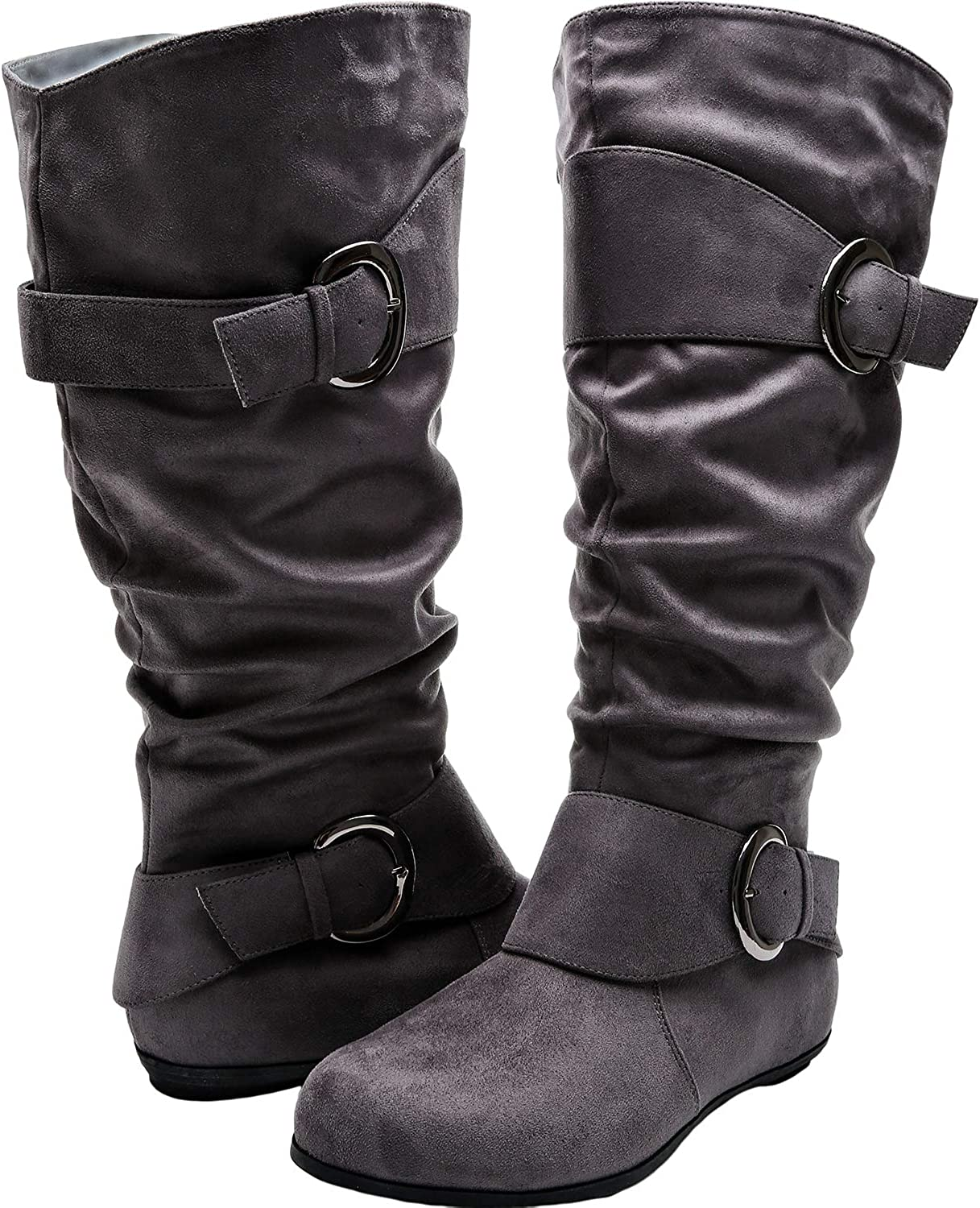 Aukusor Women's Wide Width Mid Calf Boots - Buckle Detail Elastic Zipper Slip on Winter Boots.(Wide Calf)