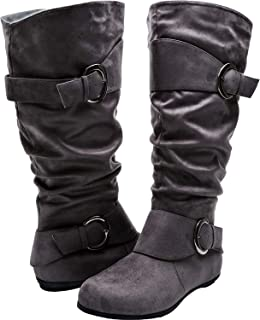 Aukusor Women's Wide Width Mid Calf Boots - Buckle Detail Elastic Zipper Slip on Winter Boots.(Wide Calf)