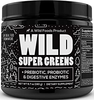 Wild Super Greens Powder - Organic Green Superfood Powder with Digestive Enzymes - 3 Servings of Veggies per Scoop - Mixed...