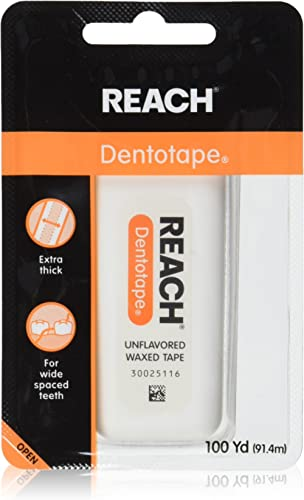 Reach Dentotape Waxed Dental Floss with Extra Wide Cleaning Surface for Large Spaces between Teeth, Unflavored, 100 Y...