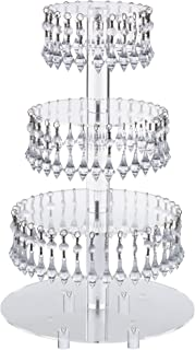 Pre-Installed Crystal Beads- 4 Tier Acrylic Cupcake Tower Stand with Hanging Crystal Bead-wedding Party Cake Tower (4 Tier With Feet) (4RF-Crystal)