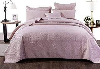 DaDa Bedding Lilac Pastel Pink Matelassé Bedspread - Seriously Soft Belginan Valentine's Mellow Country Elegant - Dusty Tea Rose Pink Quilted Coverlet Set - Soft Pale Textured - King - 3-Pieces