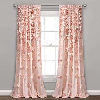 "Lush Decor Riley Curtain Sheer Ruffled Textured Bow Window Panel for Living, Dining Room, Bedroom (Single) 84"" x 54"" Blush, L"