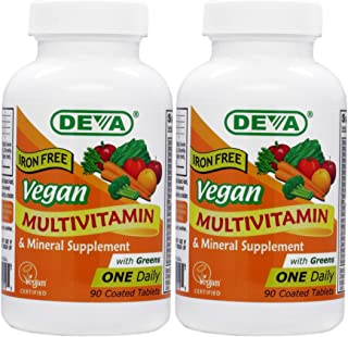 Deva Vegan Multivitamin and Mineral Supplement - (2-Pack) - Iron Free - 90 Coated Tablets…