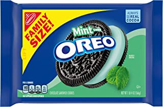 Oreo Mint Creme Chocolate Sandwich Cookies, Family Size, 20 Ounce