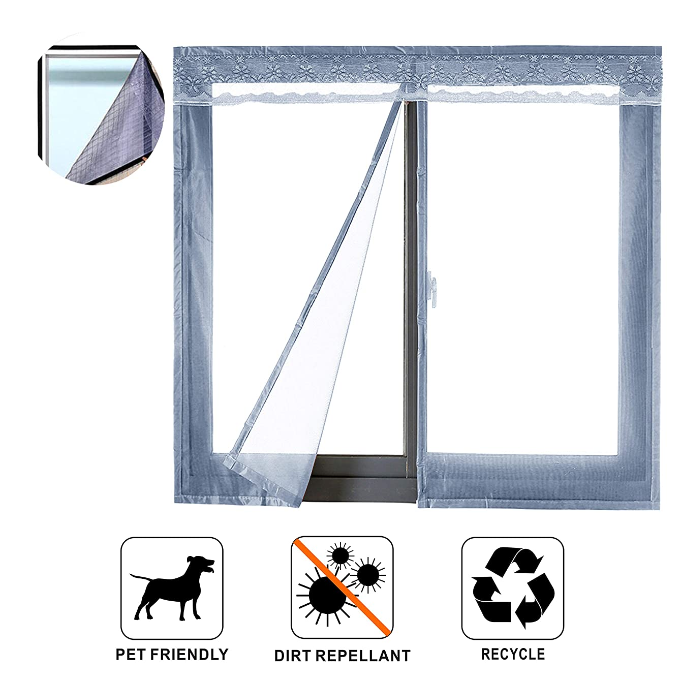 Liveinu Reinforced Magnetic Window Screen Mesh Anti Fly Mosquito Insect Curtain with Magnets for Window and Door Full Frame,No Drilling,Hook & Loop Fastening Tape Install 27 x 39 Inch Grey