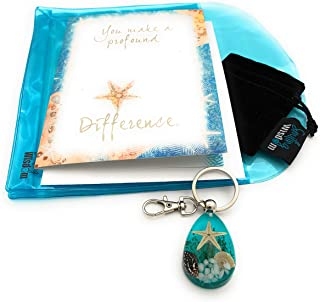 Smiling Wisdom - Blue Real Starfish Drop Keychain Appreciation Gift Set - You Make a Profound Difference Greeting Card - Thank You to Man Woman Teacher Volunteer, Care Giver - Aqua Blue