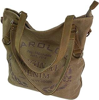 ekavale Große Canvas Damen Handtasche Shopper Umhängetasche Schultertasche Baumwollstoff Segelstoff Tasche Natur