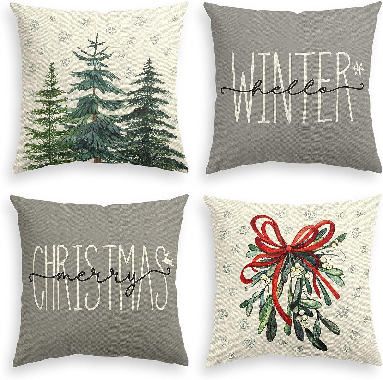 AVOIN colorlife Merry Christmas Tree Arlington Mall Hello Winter Throw C Pillow Soldering